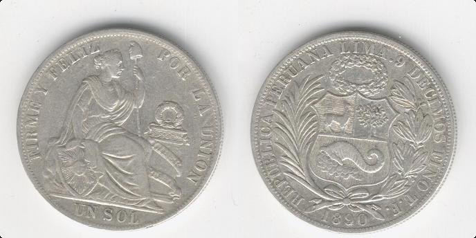 Peru (Lima), 1 Sol, 1890 (DEDICADA AL MAESTRO EBURON). 1_anv_11