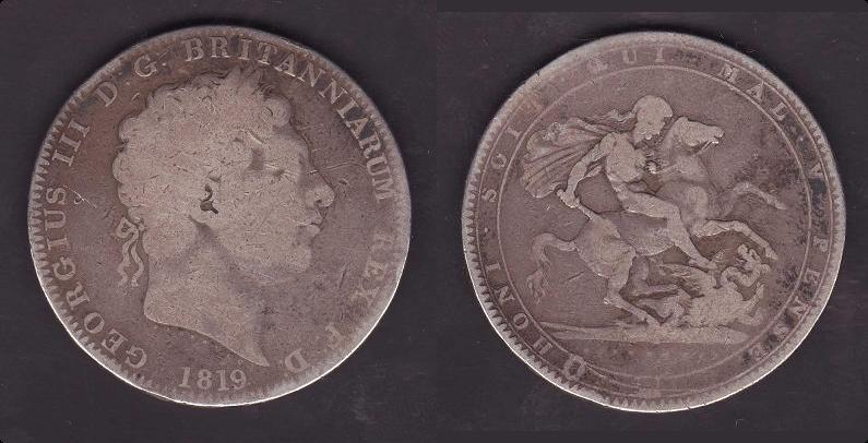 Reino Unido, 1 corona, 1819. 1_anv_16