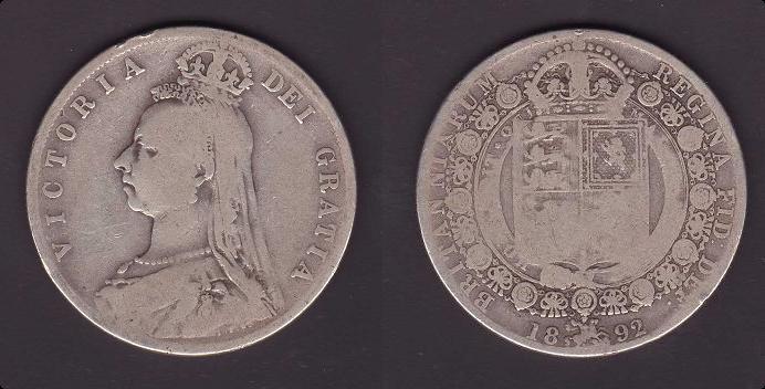 Reino Unido, 1/2 corona, 1892. 2_anv_14