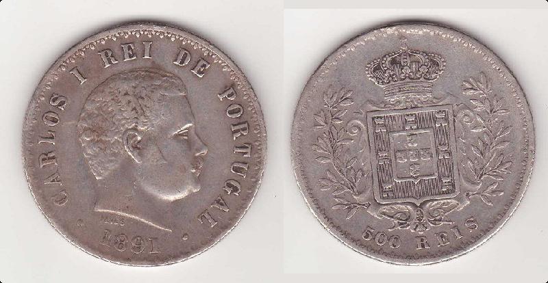 Reino de Portugal - 500 Reis de D. Carlos I (Lisboa, 1891) B_fina10