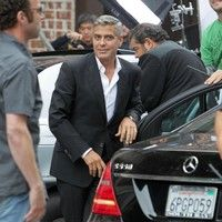 George Clooney shooting a Mercedes-Benz commercial (pics) 2011 Merced19