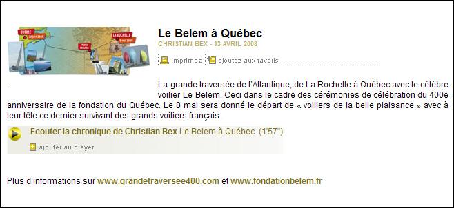France Info - Interview Fondation Belem du 13/04/08 France10