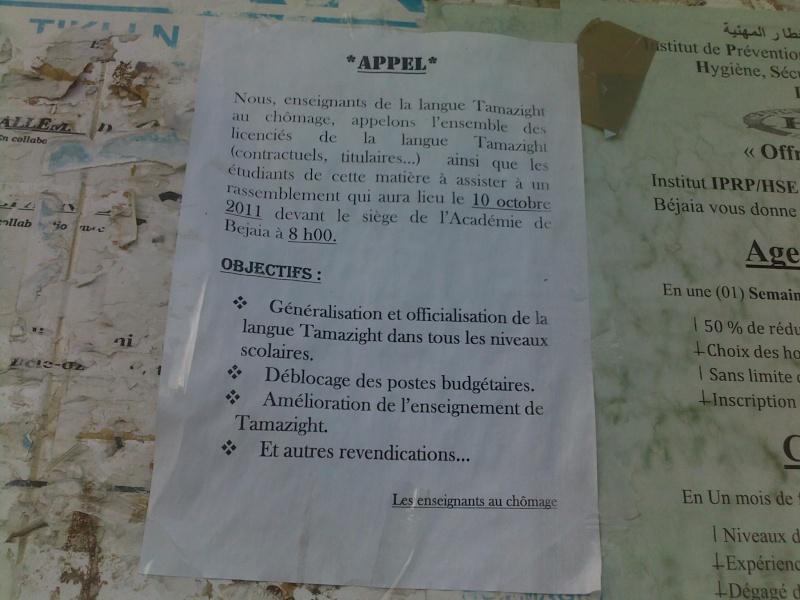 Appel: enseignants de Tamazight au chomage 12102010