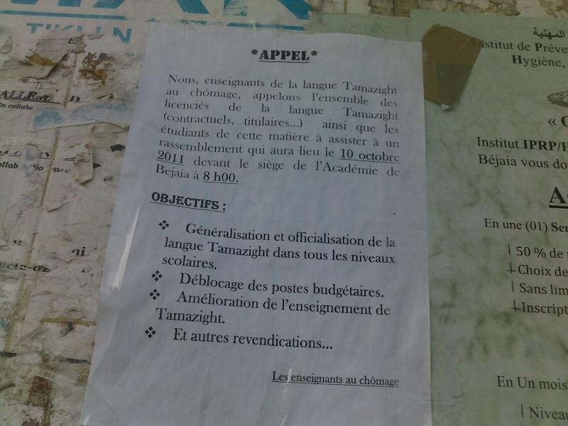Appel: enseignants de Tamazight au chomage 12102011