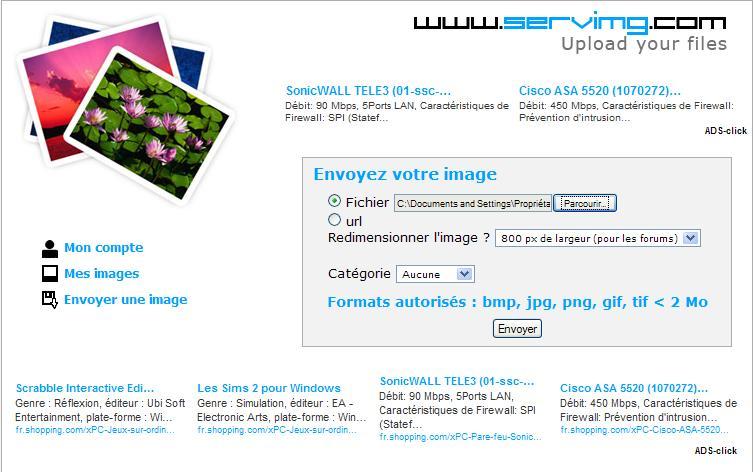 mettre une photo avec servimg.com 410