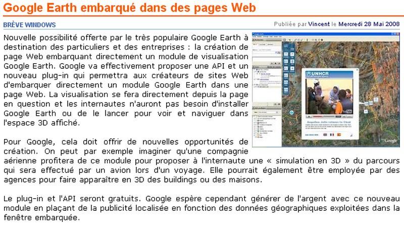 Google Earth embarqué dans des pages Web Google11