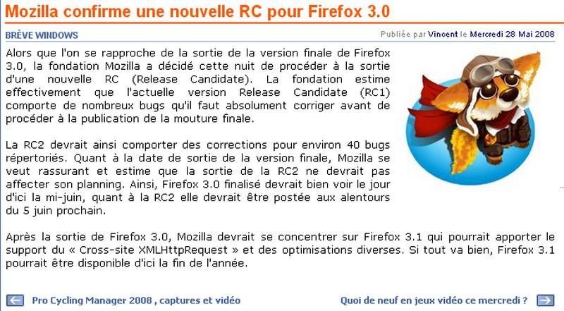 Firefox 3.0 : les prémisses ... et son évolution ! Mozill10