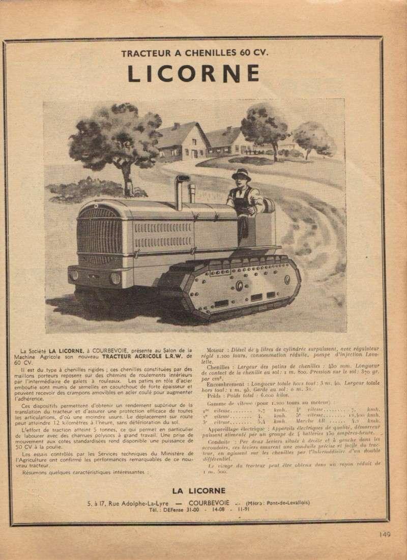 publicités du tracteur LICORNE Licorn58