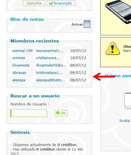 Usuario registrado no apareció como tal en los últimos miembros registrados Mmo16