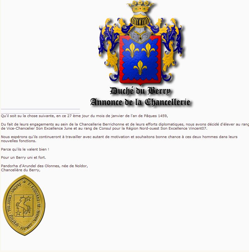 Arrivé du Consuls Du Berry Nomina10