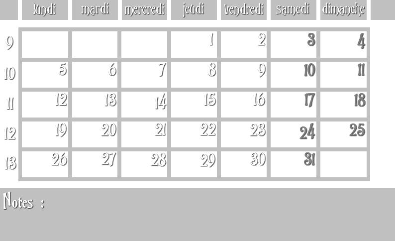 Masques calendrier -  12 mois 2012 03_sem10
