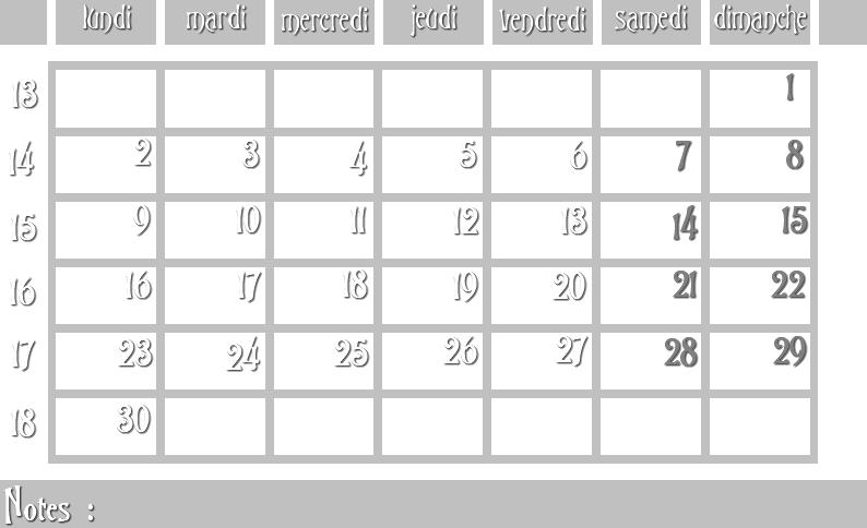 Masques calendrier -  12 mois 2012 04_sem11