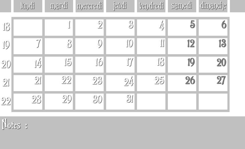 Masques calendrier -  12 mois 2012 05_sem10