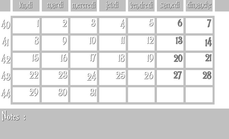 Masques calendrier -  12 mois 2012 10_sem10