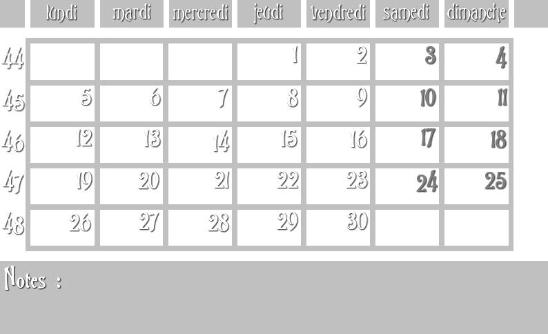Masques calendrier -  12 mois 2012 11_sem10