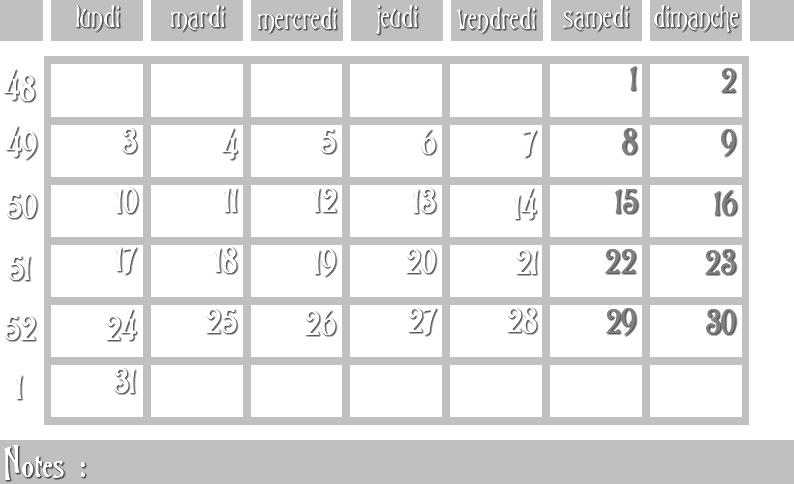 Masques calendrier -  12 mois 2012 12_sem10