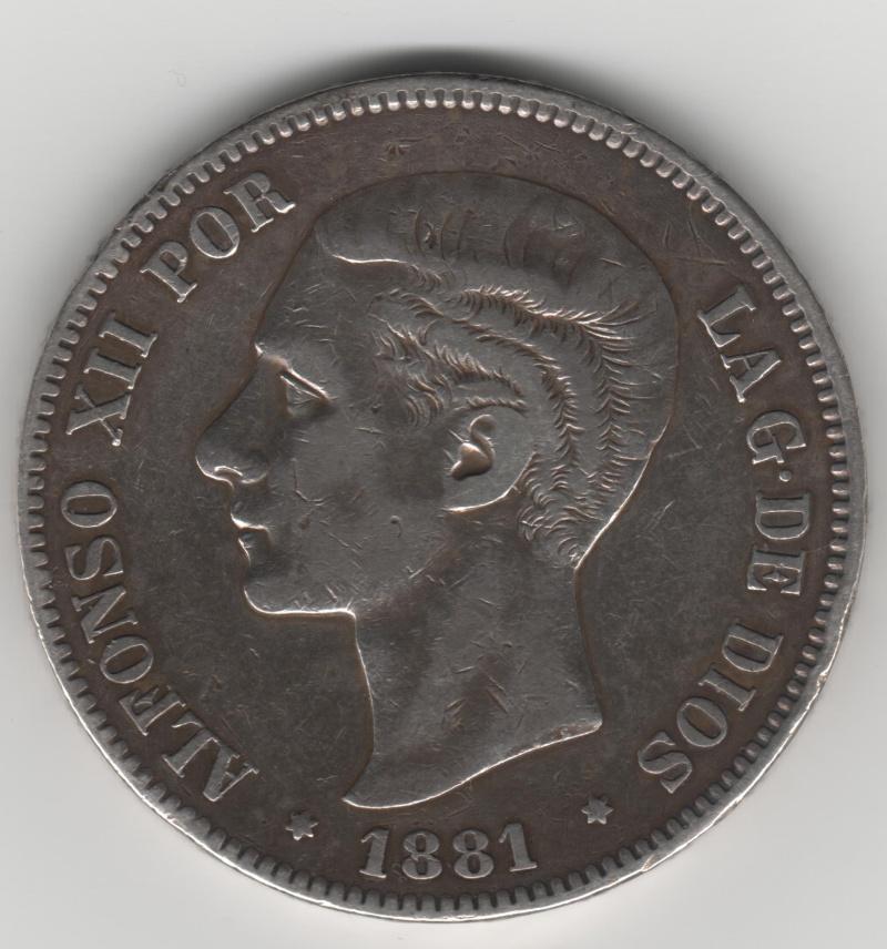 5 Pesetas 1881. MSM. Alfonso XII 355_110