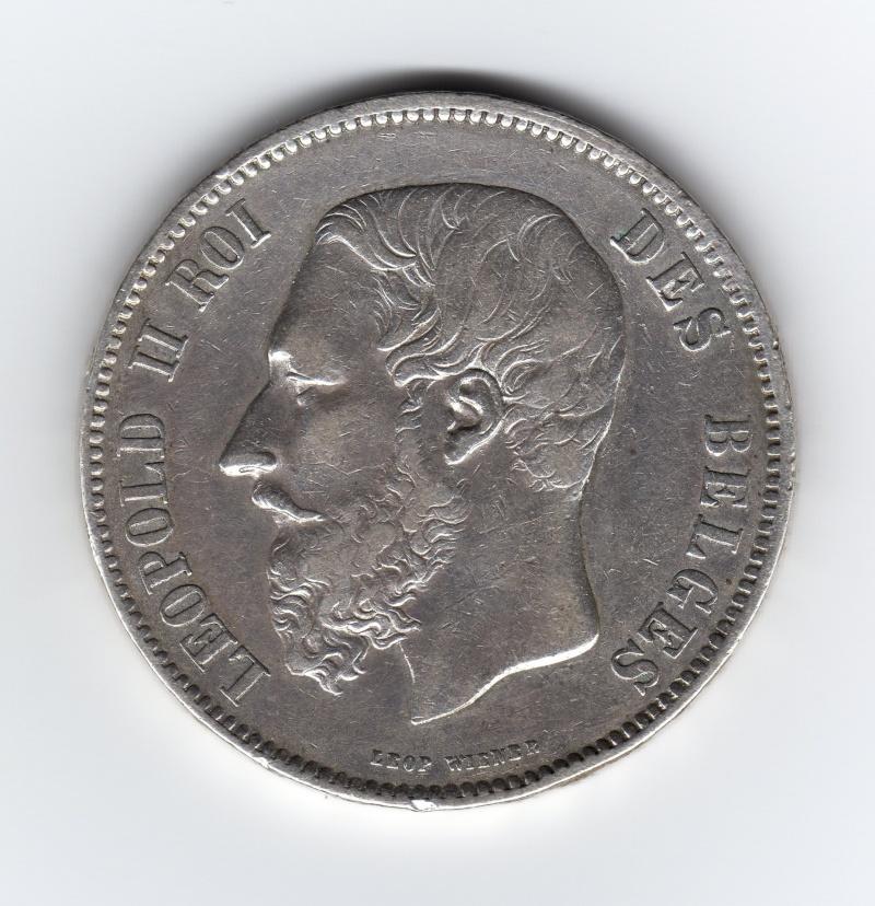 5 Francs. Bélgica. 1868. Bruselas Img19810