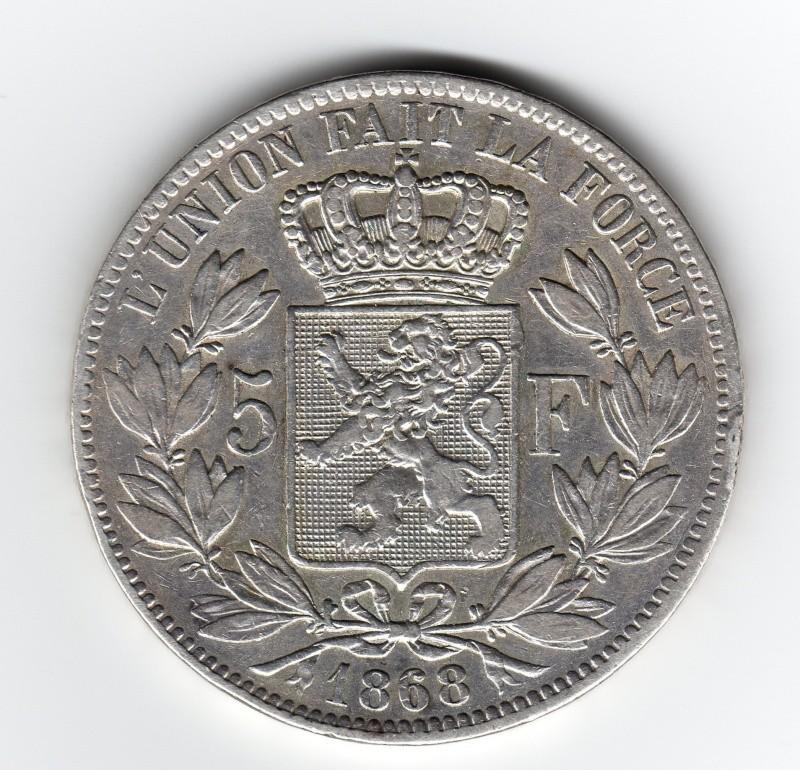 5 Francs. Bélgica. 1868. Bruselas Img19910