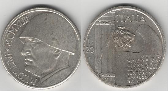Italia, 20 lire. Mussolini. Tirada o algo mas? Mussol10