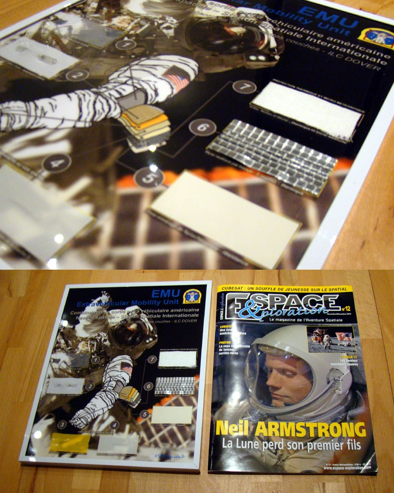 Cadre avec Echantillons scaphandre EMU - NASA Termin14