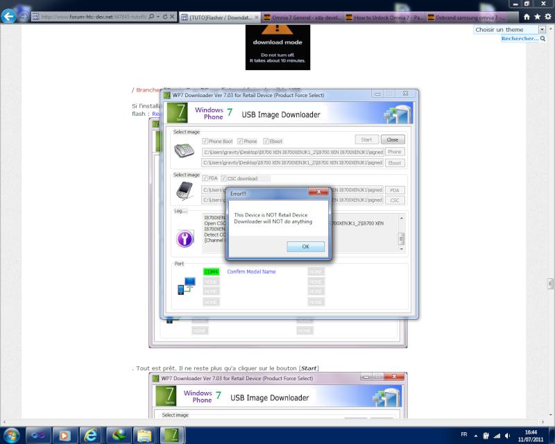 [TUTO]Flasher / Downgrader un spl inferieur à 4.X/Umbrander  son WP7 1er generation - Page 3 Error10