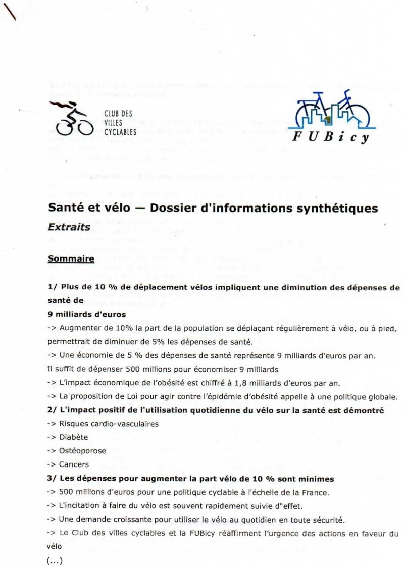 SANTE & VELO DOSSIER D'INFORMATIONS SYNTHETIQUES  -FUBicy- Docum122
