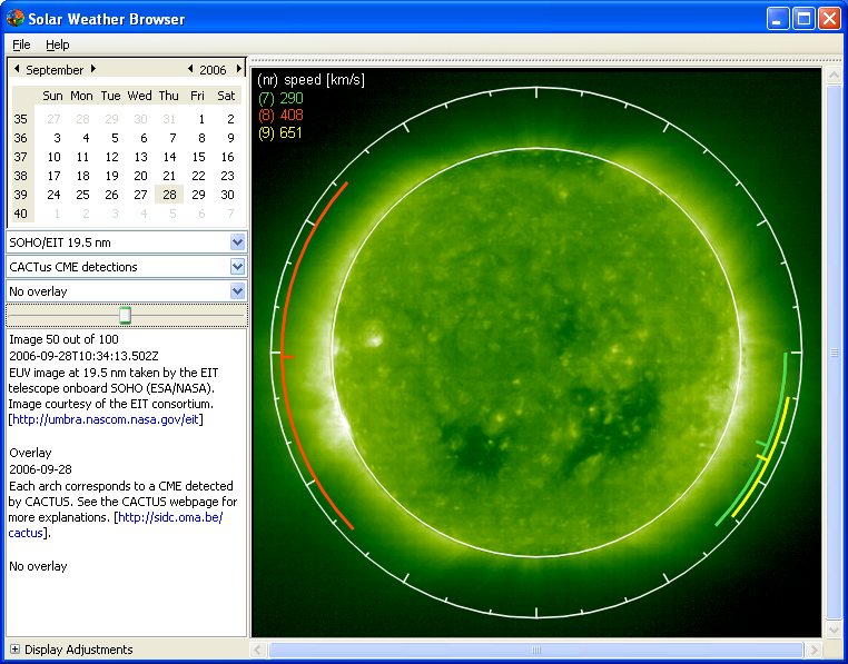Logiciel Solar Weather Browser (SWB) Screen10