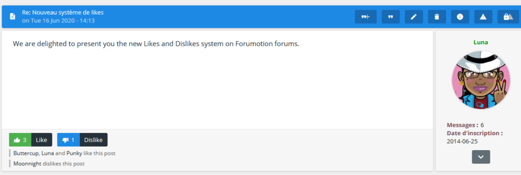Discover the new Like and Dislike system of Forumotion En_lik10