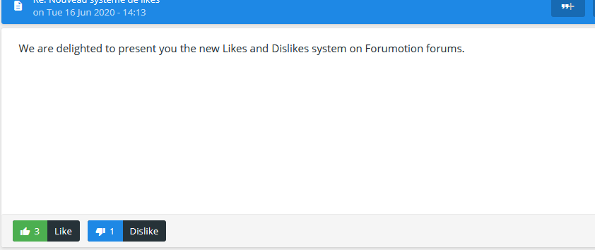 Discover the new Like and Dislike system of Forumotion En_lik12