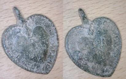 Médaille en forme de coeur - Sacré Coeur de Jésus et Marie - XVIIIème Medail11