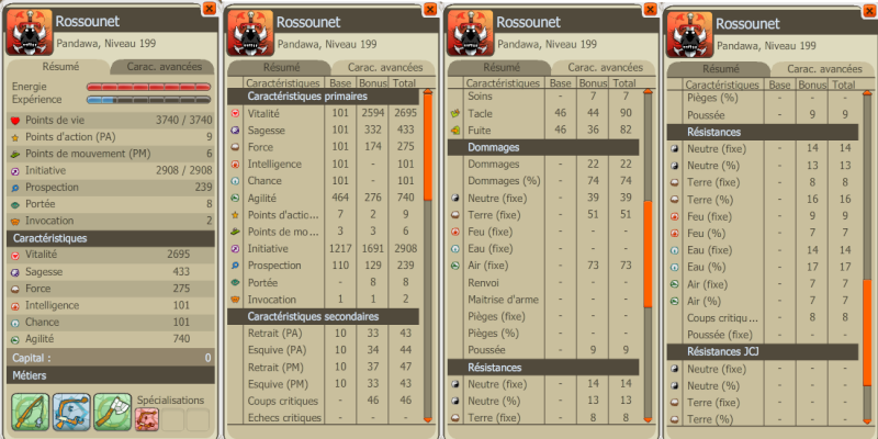 Rossounet (anciennement Pandaross) Disciple Air niveau 199 Caract10
