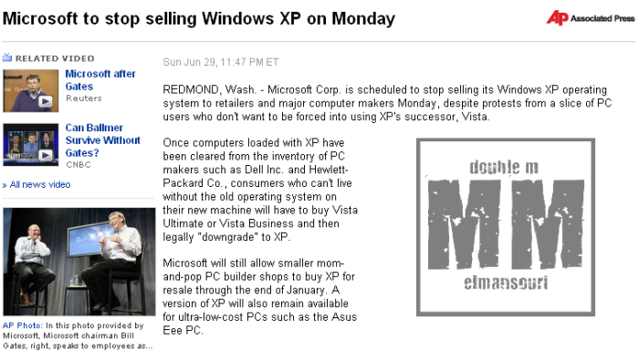 Microsoft to stop selling Windows XP on Monday .... 30-06-10