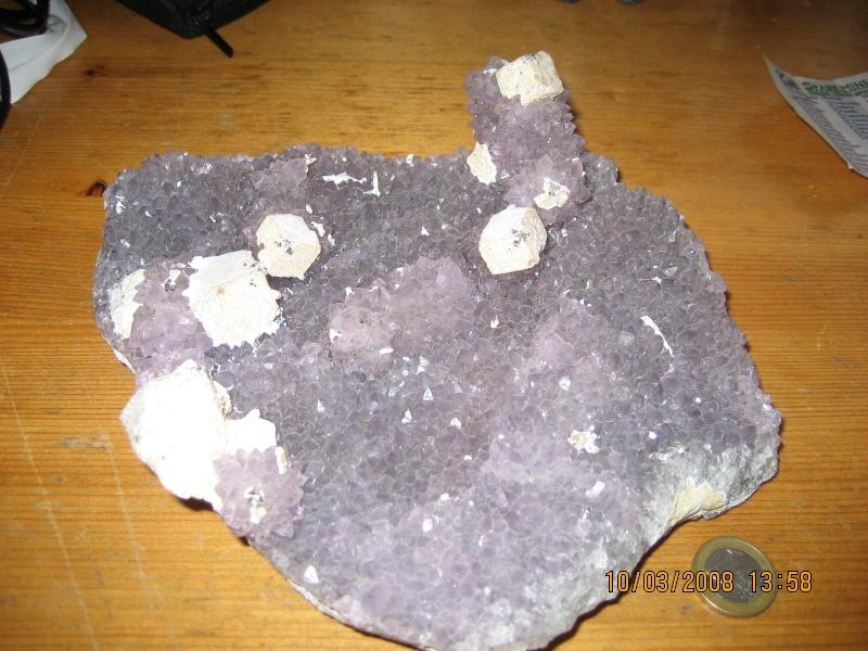 Quart améthyste + fluorine pseudomorphosée 08910
