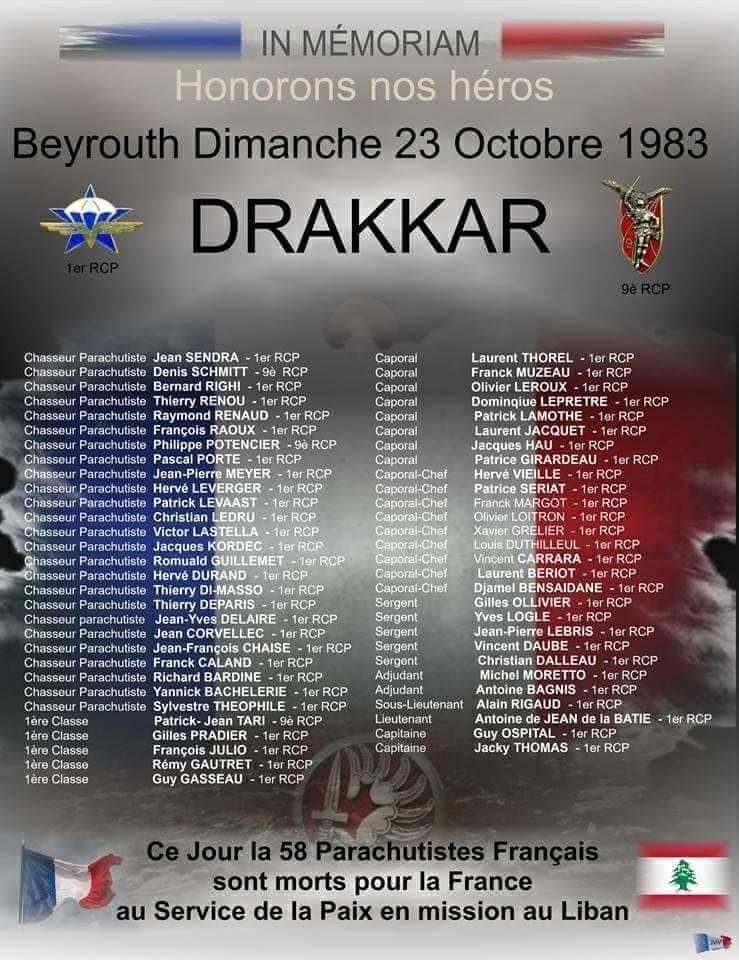 Beyrouth, 23/10/1983 : Souvenons-nous des paras du Drakkar 12249610