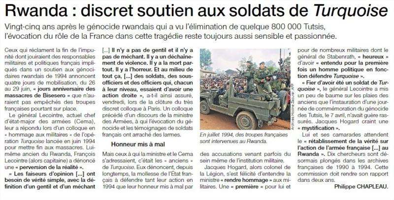 Au Rwanda, le colonel Hogard est «très fier du rôle de la France» 19215014