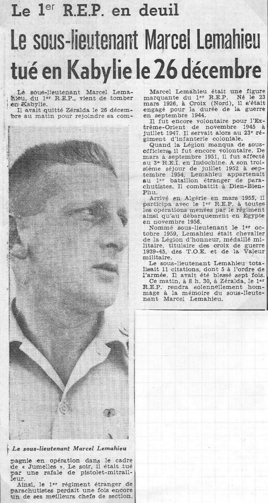 LEMAHIEU S/LNT 1er REP mort au combat le le 26-12-1959 à MARAGNA Douar Malou Kabylie en Algérie française 1er_re10