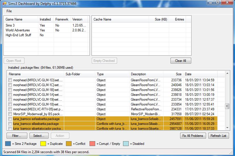 Vérifier les .packages et Sims3packs avec le Dashboard Dash0110