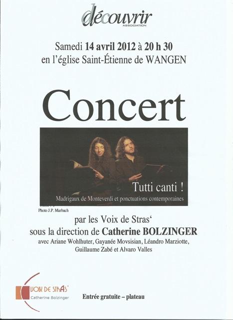 Concert par les Voix de Stras' samedi 14 avril 2012 à 20h30 en l'église Saint-Etienne de WANGEN Affich11