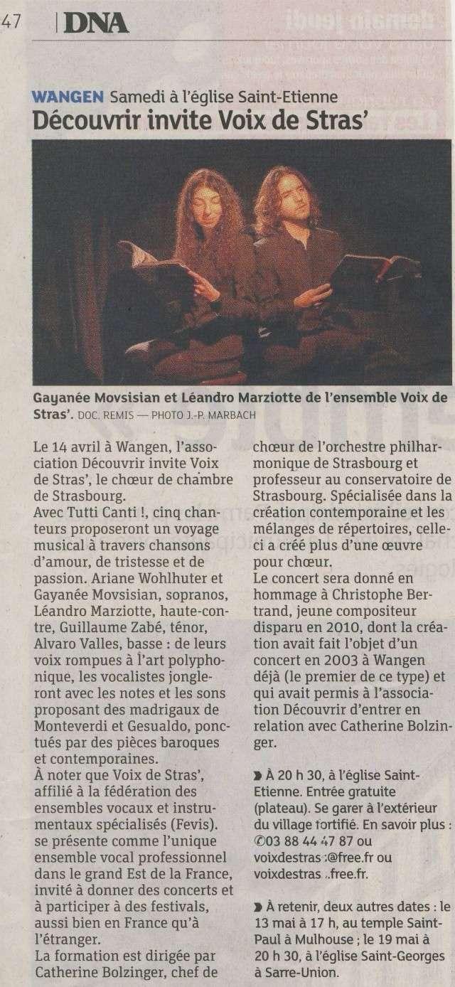 Concert par les Voix de Stras' samedi 14 avril 2012 à 20h30 en l'église Saint-Etienne de WANGEN Image108