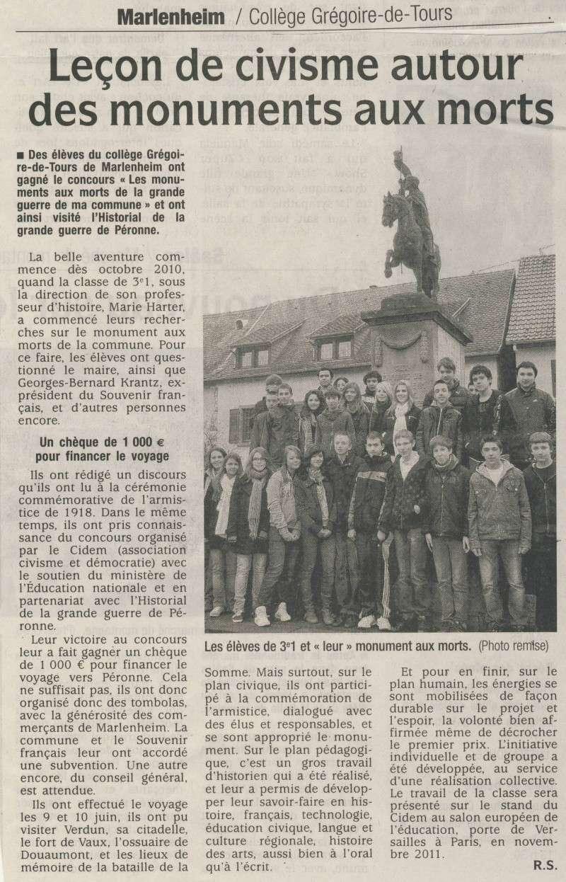 """La classe de 3ème1 du collège Grégoire de Tours de Malenheim lauréate du concours """"Les monuments aux morts de la Grande Guerre de ma commune"""" Image120"""