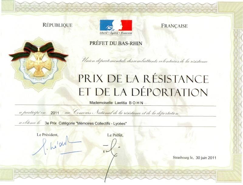 Prix de la résistance et de la déportation pour Laetitia et sa classe Redipl10