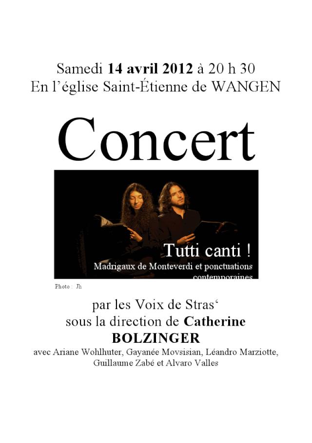 Concert par les Voix de Stras' samedi 14 avril 2012 à 20h30 en l'église Saint-Etienne de WANGEN Viewer24