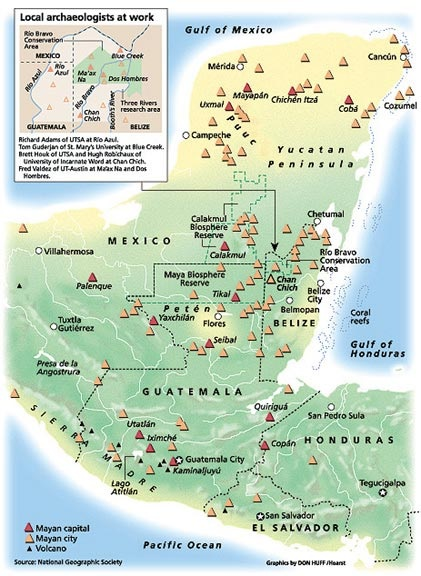 Mayas - Tikal Calakmul Palenque - Maya Yucatan Mexique Carte-10