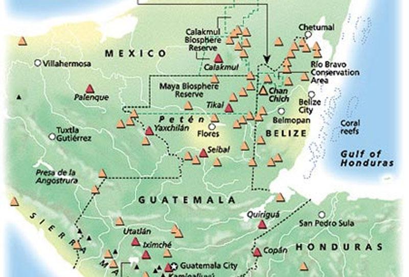Mayas - Tikal Calakmul Palenque - Maya Yucatan Mexique Carte-12