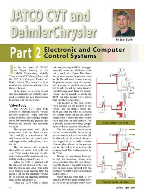 Вариатор:JATCO CVT & DaimlerChrysler.Устройство,принцип работы,коды ошибок. 524