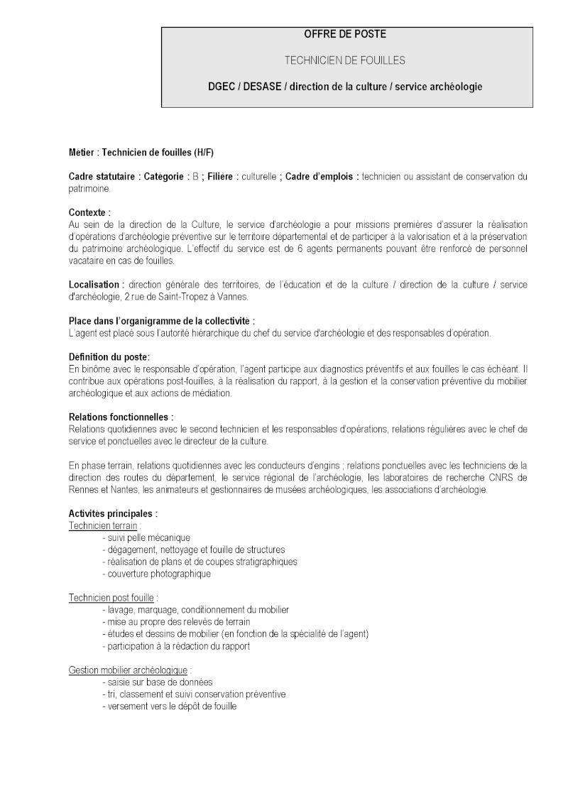 Technicien de fouille - CDD ou CDI - CG56 - URGENT 120_1210