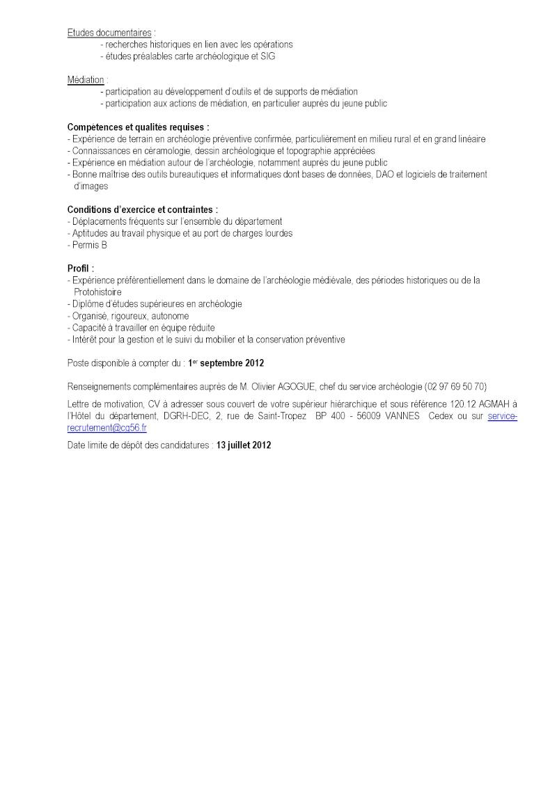 Technicien de fouille - CDD ou CDI - CG56 - URGENT 120_1211