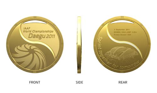 Médailles de vainqueur des Championnats du Monde d'Athlétisme 2011 à Daegu (Corée du Sud) Medail11