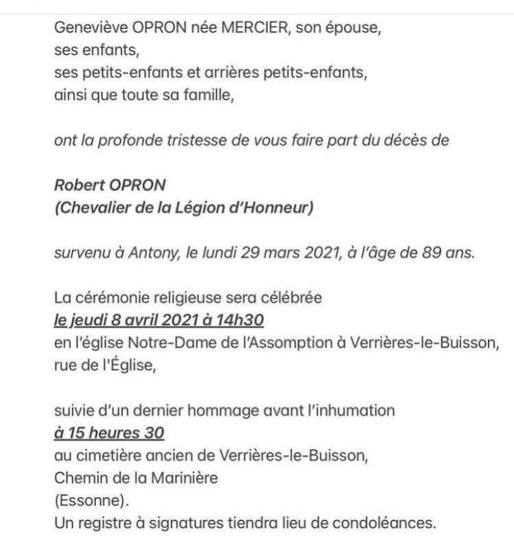 Mr Robert Opron est décédé  F2610c10